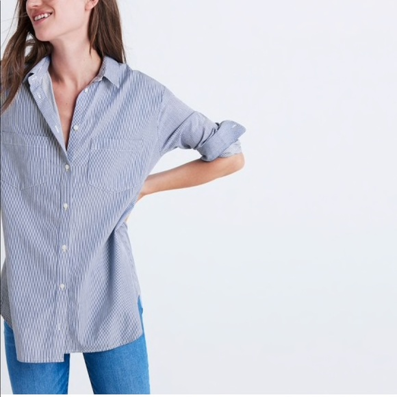 7627777bd89ad Madewell Tops - Madewell oversized ex-boyfriend shirt in stripe